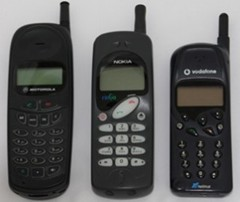 Vodafone Pay as You Talk phones from 1997; Motorola a160, Nokia RinGo and Telital PV129
